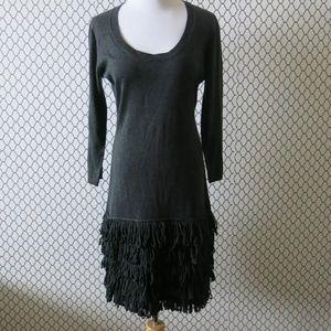 Calvin Klein Gray 3/4 Sleeve Fringe Sweater Dress